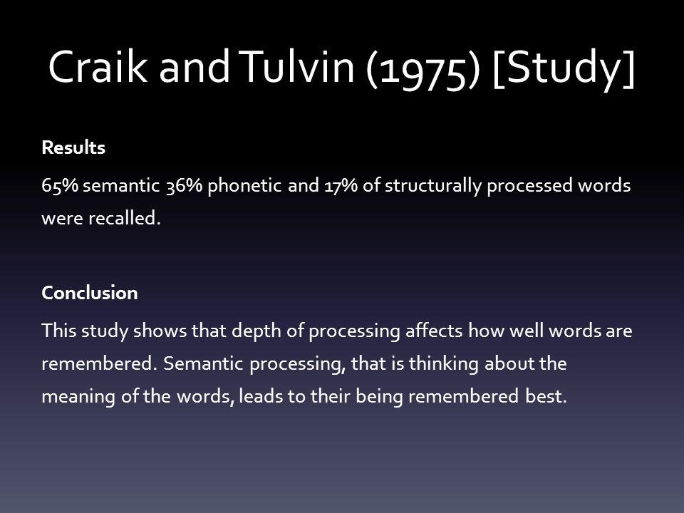 Craik and Tulvin (1975) [Study]